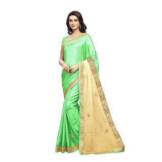 Aradhya Fashion Women's Embroidered Silk Green Saree
