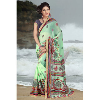 Aradhya Fashion Designer Printed Georgette Green Saree