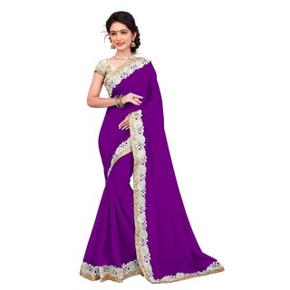 Aradhya Fashion Designer Embroidered Georgette Purple Saree