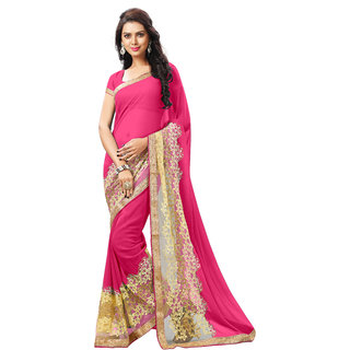 Aradhya Fashion Designer Embroidered Faux Georgette Pink Sari