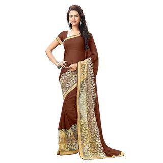 Aradhya Fashion Designer Embroidered Faux Georgette Brown Saree