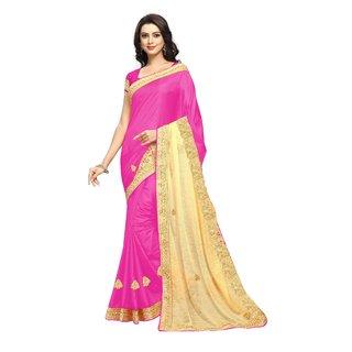 Aradhya Fashion Designer Embroidered Silk Pink Sari