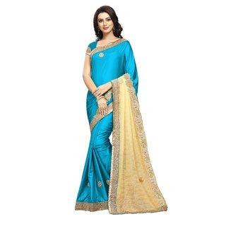 Aradhya Fashion Women's Embroidered Silk Turquoise Saree