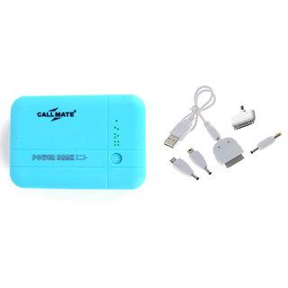 Callmate12000mAh New Design Bar Shape Power Bank with dual USB output - Sky Blue