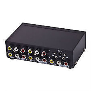 4 Port 3 RCA AUDIO VIDEO Composite AMP Splitter 1IN - 4OUT