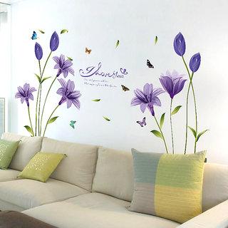 Oren Empower Beautiful Purple Lily Flower Large Wall Sticker