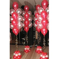 RED n WHITE Metallic Party Balloons - Pack of 50