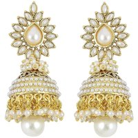 Aabhu Bollywood Inspired Pearl Polki Stylish Fancy Party Wear Traditional Jhumki / Jhumka Earrings For Girls / Women
