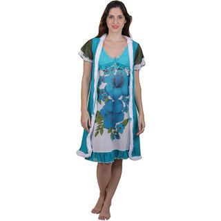 Buy Vixenwrap Blue   White Floral Print Nighty Online - Get 10% Off 38af65826