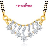 MEENAZ FROLICSOME GOLD AND RHODIUM PLATED CZ MANGALSUTRA PENDANT MSP710