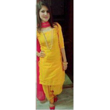 f0776d40ea Erricfashion Pink Yellow Cotton Plain Salwar Suit Material Unstitched Dress  Material