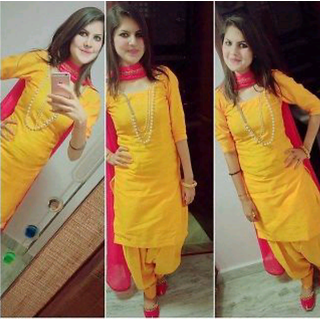 f0776d40ea Erricfashion Pink Yellow Cotton Plain Salwar Suit Material Unstitched Dress  Material