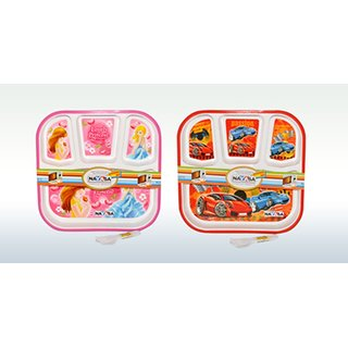 Nayasa kids partition 2pcs plate set (MICRO-SAFE) Red and Pink
