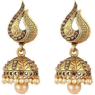 jadau earrings golden half moon ivory