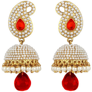 Angel In You Exclusive Golden White Red Earrings       H 831