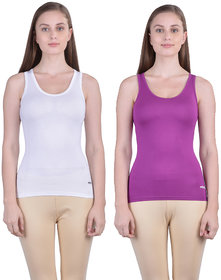Dollar Missy Women'S Combo Of 2 White And Hot Falsa  Cotton  Tank Top