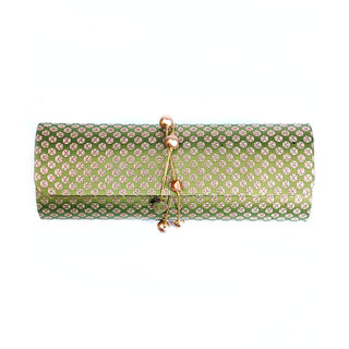 Favola Classy Dholak Style Silk Brocade Gold And Green Clutch Bag