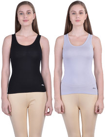 Dollar Missy Women'S Combo Of 2 Black And Stone  Cotton  Tank Top
