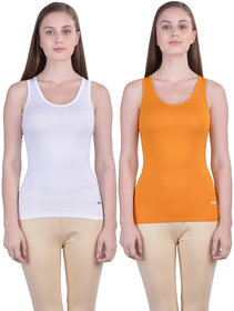 Dollar Missy Women'S Combo Of 2 White And Mustard  Cotton  Tank Top