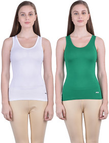 Dollar Missy Women'S Combo Of 2 White And Pak Green  Cotton  Tank Top