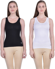 Dollar Missy Women'S Combo Of 2 Black And White  Cotton  Tank Top
