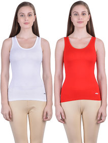 Dollar Missy Women'S Combo Of 2 White And Red  Cotton  Tank Top