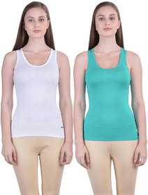Dollar Missy Women'S Combo Of 2 White And Sea Green  Cotton  Tank Top