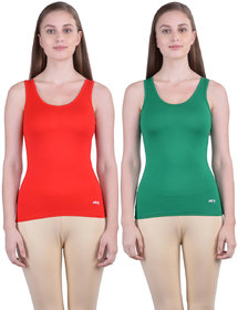 Dollar Missy Women'S Combo Of 2 Red And Pak Green  Cotton  Tank Top