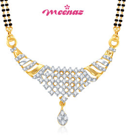 MEENAZ RITZZY CZ GOLD AND RHODIUM PLATED MANGALSUTRA PENDENT MSP 713