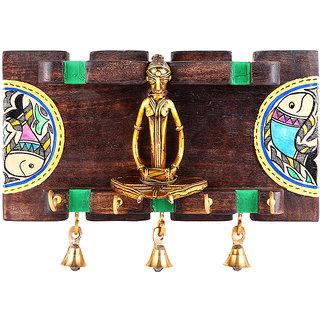 Indikala Wood crafted key ring holder with dhokra work