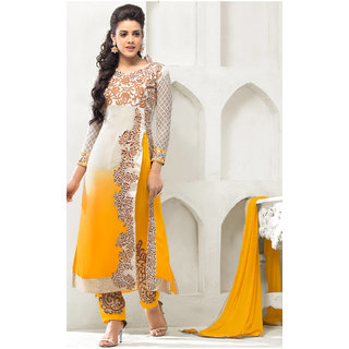 Kavyasarees Yellow Georgette Semi Stitched Suit