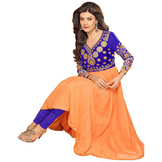 Indian Wear Online Orange Faux Georgette Dress Material (Unstitched)