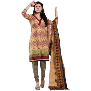 Indian Wear Online Yellow Cotton Dress Material (Unstitched)
