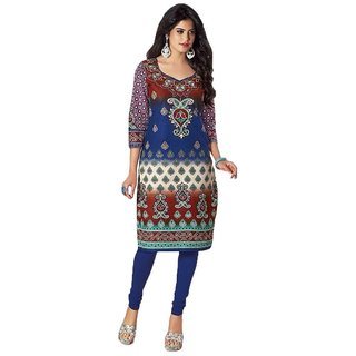 Indian Wear Online Blue Cotton Printed Unstitched Kurti Material