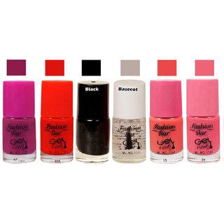 Fashion Bar  Nail Polish  Goggly Pink  Matte 30 ml Pack of 6