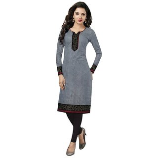 Indian Wear Online Grey Cotton Printed Unstitched Kurti Material