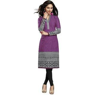 Party Wear Dresses Purple Cotton Printed Unstitched Kurti Material