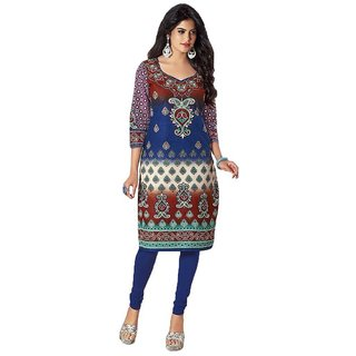 Party Wear Dresses Blue Cotton Printed Unstitched Kurti Material
