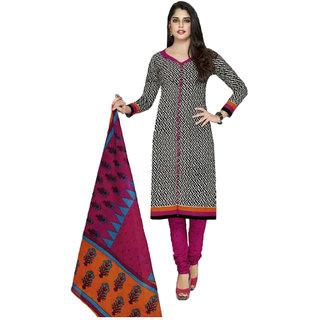 Indian Wear Online Black Cotton Dress Material (Unstitched)