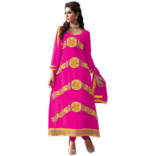 Indian Wear Online Pink Faux Georgette Dress Material (Unstitched)