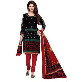 Indian Wear Online Black Cotton Printed Un-Stiched Dress Material (Unstitched)