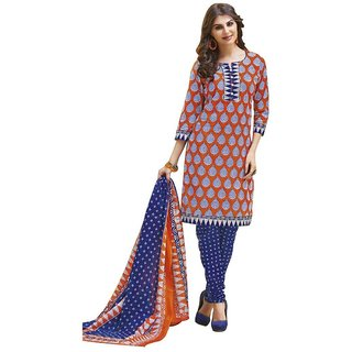 Indian Wear Online Blue Cotton Printed Un-Stiched Dress Material (Unstitched)