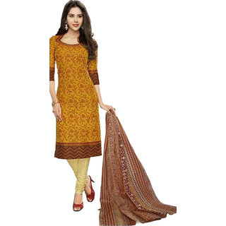 Indian Wear Online Orange Cotton Dress Material (Unstitched)