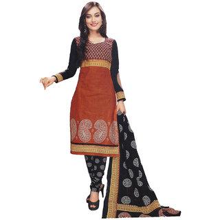 Indian Wear Online Orange Cotton Dress Material (Unstitched)