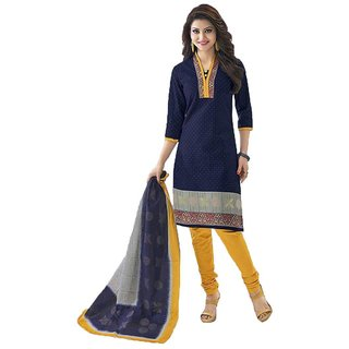 Indian Wear Online Navy Blue Printed Cotton Dress Material (Unstitched)
