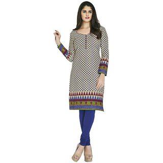 Indian Wear Online White Cotton Printed Unstitched Kurti Material