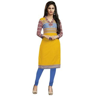Indian Wear Online Yellow Cotton Printed Unstitched Kurti Material