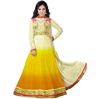 Indian Wear Online Yellow Georgette Dress Material (Unstitched)