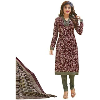 Indian Wear Online Maroon Printed Cotton Un-Stiched Dress Material (Unstitched)