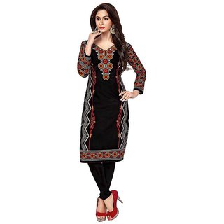 Party Wear Dresses Black Cotton Printed Unstitched Kurti Material